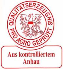 Label-Info: Qualitätserzeugnis - pro agro geprüft - Aus kontrolliertem Anbau