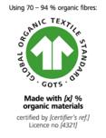 """GOTS-(Global Organic Textile Standard)-""""hergestellt aus [X] % kbA/kbT-Fasern"""