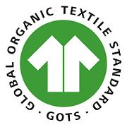 "Label-Info: GOTS (Global Organic Textile Standard) ""hergestellt aus [X] % kbA/kbT-Fasern in Umstellung"