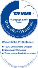 Label-Info: Geprüfter Ökostrom Standard A75-S026-1